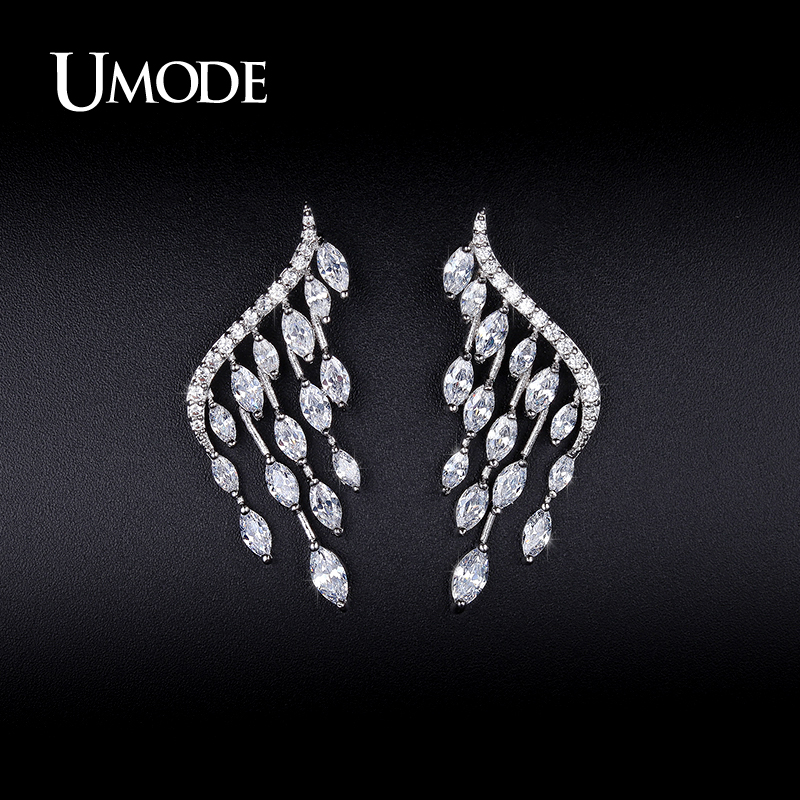 UMODE New Fashion White Gold Color Women Jewelry Angel Wings Stud Earrings Gifts Ear Studs Party Jewellery Earrings Aros UE0213 beard portrait pattern ancient palace bronze ear studs white black pair