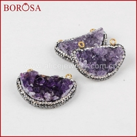 BOROSA 5pcs New Half Moon Connector Raw Natural Purple Crystal Druzy Quartz Stone Pendant Gold Connector