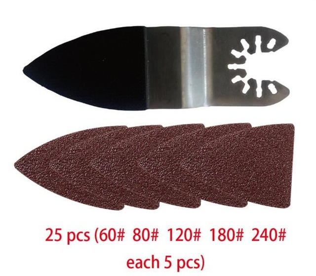 25 Pcs Sanding Paper+Finger Sanding Pad For Power Tool,sandpaper For Oscillating Multi Tool Accessories