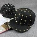 2015 News Men Punk Rivet Black Baseball Caps Hiphop Male Stars Snapback Caps Summer Lovers Cap Hat