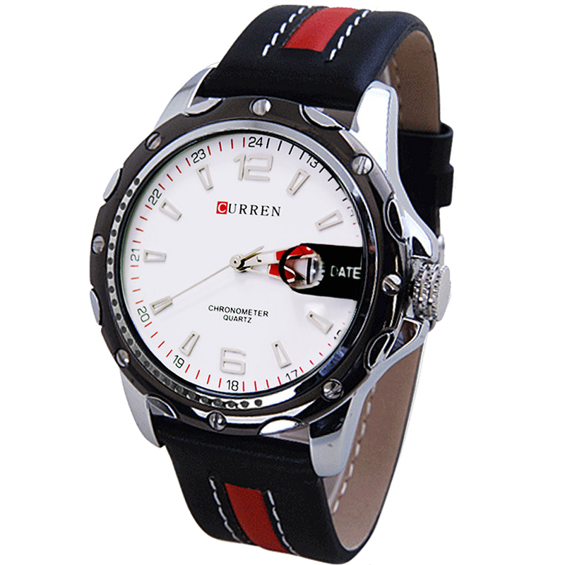 curren army military watch male clock men casual leather. Black Bedroom Furniture Sets. Home Design Ideas