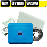 YENI 2G 3G 4G Hücresel Sinyal Booster 70dB GSM 900 DCS 1800 mhz WCDMA 2100 mhz Tri Band Tekrarlayıcı LTE 1800 mhz Amplifikatör Anten Seti