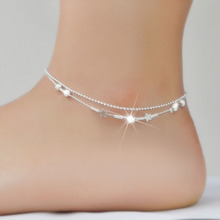 Stars Silver Beads Anklet