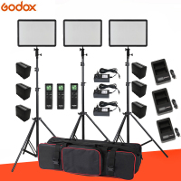 6PCS Batteries +3x Godox Ultra Slim LEDP260C 256pcs LED 30W 3300 5600K Video Light Panel Lighting Kit + Stand +USB Chargers+Bag