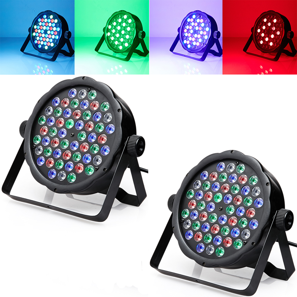 2 * DMX Control 54 RGBW LED Par Light para Disco Party DJ Bar Lamp Music Show Strobe Projector Etapa Efecto de iluminación