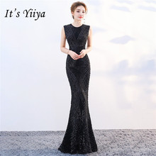 It's Yiiya Sequined evening dress O-neck sleeveless zipper back Floor-length Party gowns Formal long Mermaid Prom dresses C111 it s yiiya sequined evening dress v neck regular sleeve zipper back mermaid prom dresses floor length formal party gowns c070