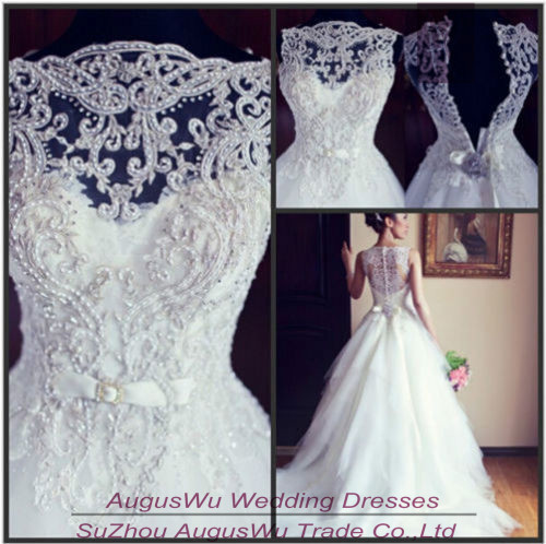 WWL503 Vintage Ball Gown Boat Neck Beaded Long Tulle Wedding Dress ...