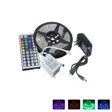 Hot sale!! Non- Waterproof  RGB Led Strip Light 5M SMD 5050 150 LEDs/Roll +44 keys IR Remote+12V 3A Power Adapter Free Shipping