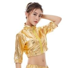2018 New Fashion Kids Adults Spring Summer Gold Short Jacket Women Jazz Slim Hip Hop Stage Performance Streetwear Dance Top