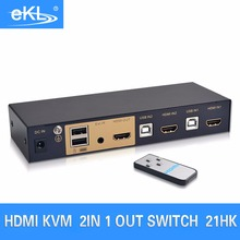 Computer Office - KVM Switches - EKL 2 Port HDMI Switch Auto Scan USB KVM Switcher HD Display Keyboard Mouse Printer Sharing Adapter