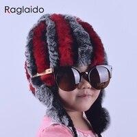 Raglaido Baby Winter Hat Fur Rabbit Pompom Caps For Girls Snow Thick Headwear Russia Hats Beanies