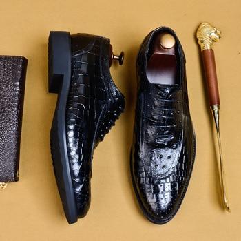 2019 England Style Lace Up Point Toe Men Fashion Party Soft Leather Shoes Crocodile Grain Platform Shoe