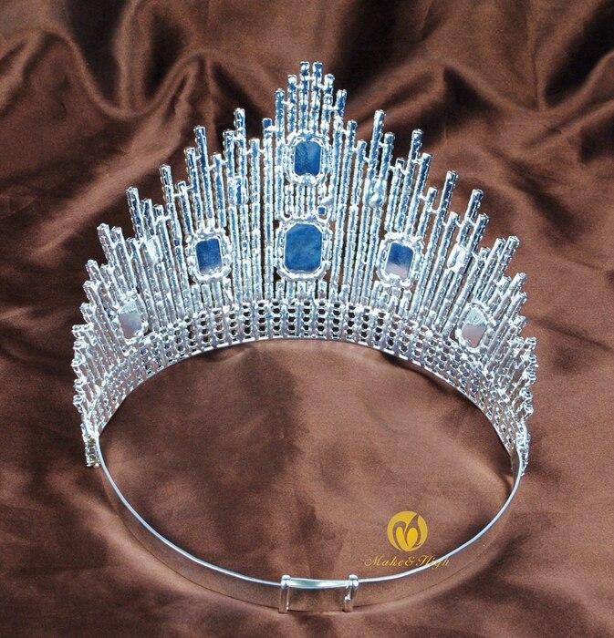 Mavi Kristal Miss Universe Səhifəli Tiaras Böyük Taclar Clear - Moda zərgərlik - Fotoqrafiya 4