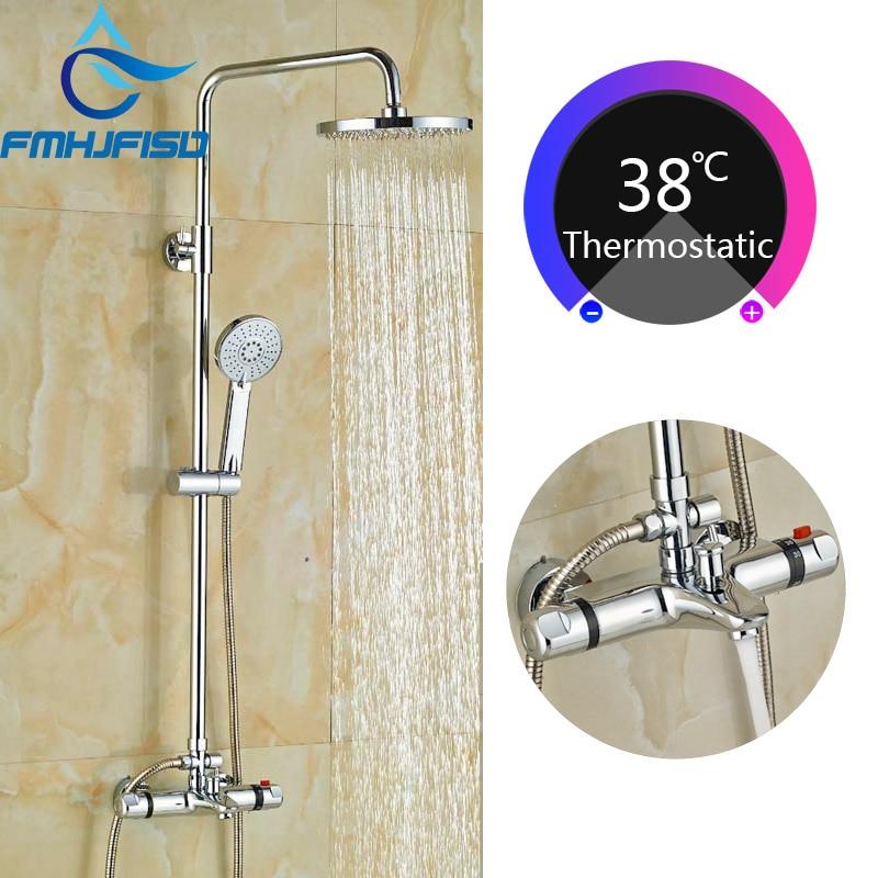 Wholesale And Retail Luxury Chrome Finish Rain Shower Faucet Set Thermostatic Valve W Hand Sprayer