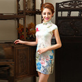 2016 New Summer Cheongsam Women's Floral Vintage Slim Dresses  Short CheongsamsTraditional Chinese Clothing