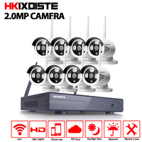 HKIXDISTE 1080P Wireless CCTV System 2MP 8ch HD NVR kit Outdoor IR Night Vision IP Wifi Camera Security System Surveillance kit