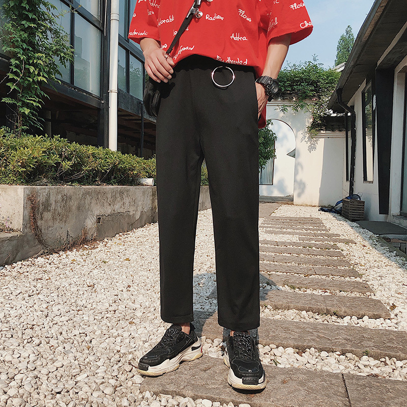 2018 Summer New Pattern Mens Directly Tube Wide Leg Nine Part Easy Motion Pants Leisure Time city boy fashion Free shipping