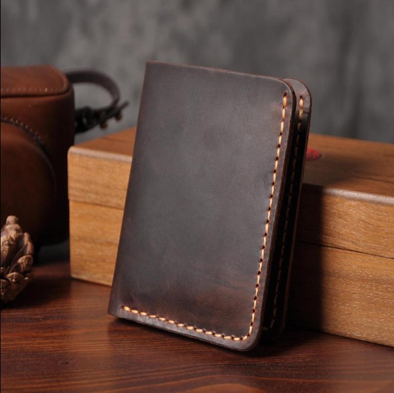 Handmade Vintage Crazy Horse Genuine Leather Wallet Men Purse Leather Men Wallet Clutch Bag Male Purse Money Clips Money Bag