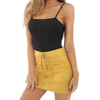 Women Solid Color Bandage Mini Skirt Autumn Winter Casual Slim Pencil Zipper Skirt