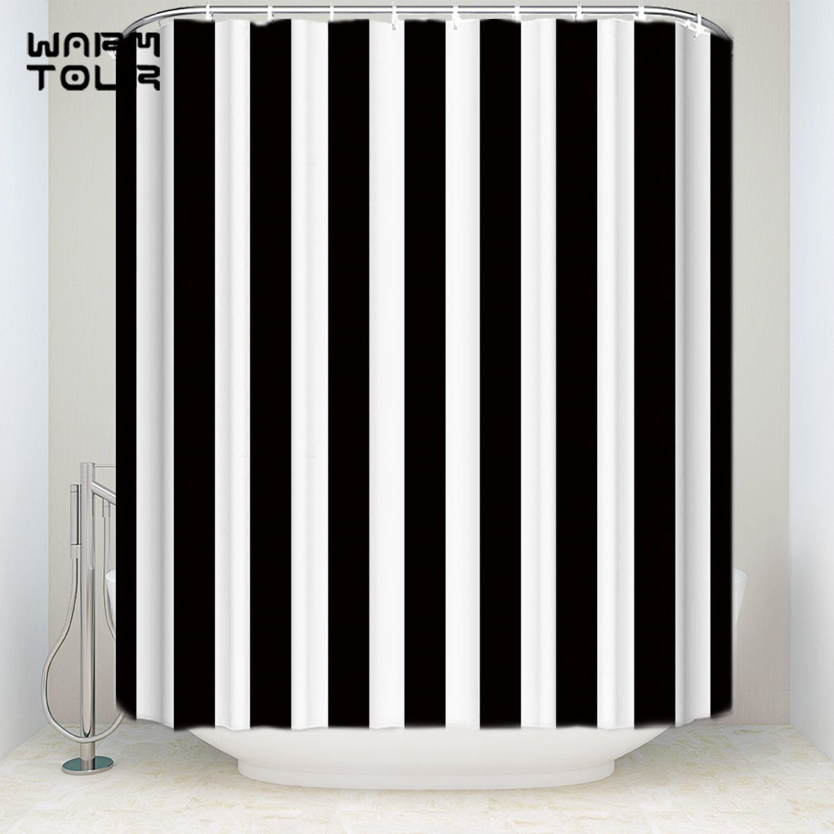 Extra Long Fabric Bath Shower Curtains Black And White ...