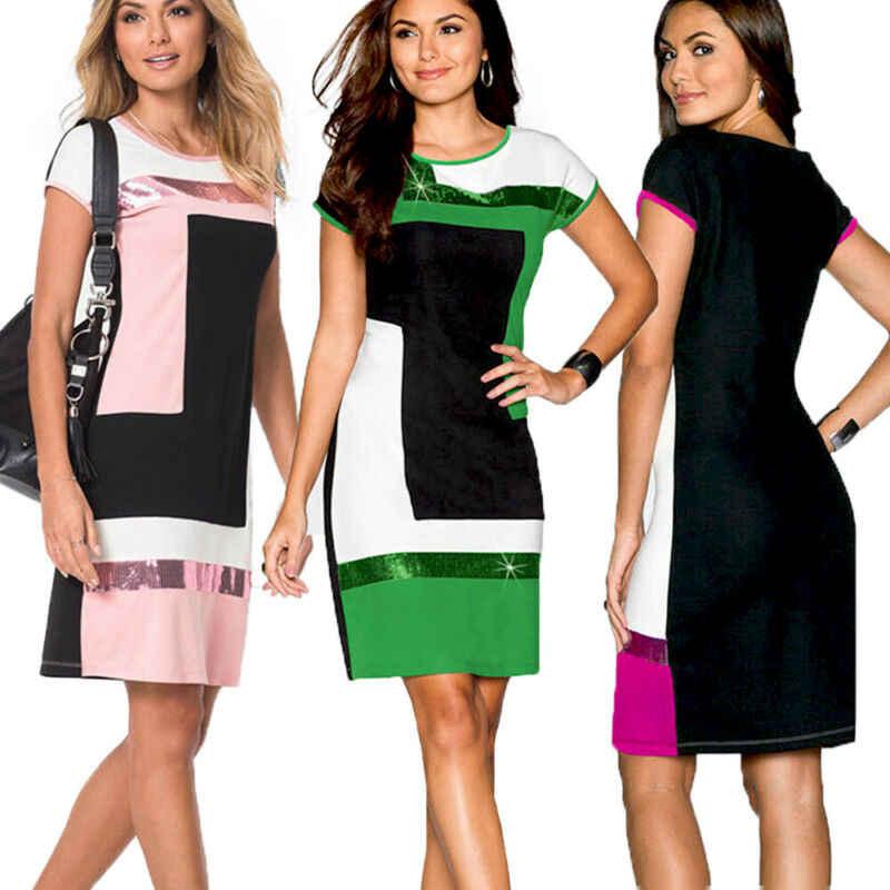 Kadın Kısa Kollu Pullu Tunik Gömlek Tops Bayanlar 2019 Yaz Plaj Mini Elbise Sundress Mini Elbiseler