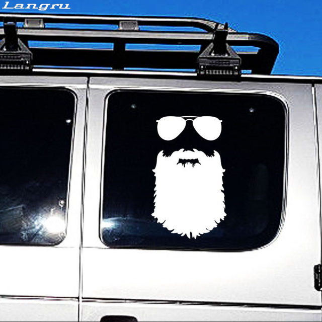 Online shop langru beard sticker funny personality car styling glasses vinyl decal mustache hipster nerd accessories jdm aliexpress mobile
