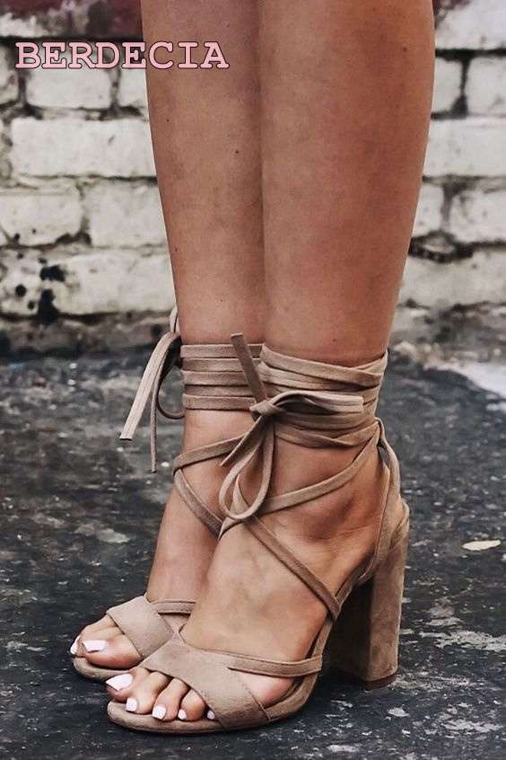 top seelling khaki open toe sandals sexy lace up square heel shoes ankle strap high heel sandals women dressing concise shoes open back lace up top