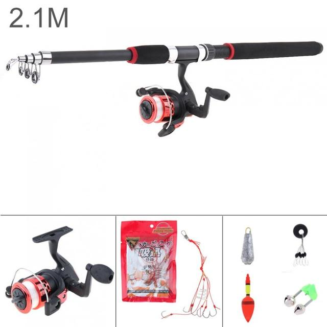 2.1m Fishing Rod Reel Line Combo Full Kits Spinning Reel Pole Set with Carp Fishing Lures Fishing Float Hooks Beads Lead weight