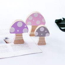 3pcs/set Wooden Mushroom Block Ornaments INS Nordic Kids Room Decoration Wood Building Blocks Baby Toys Gift Nursery Decor Props