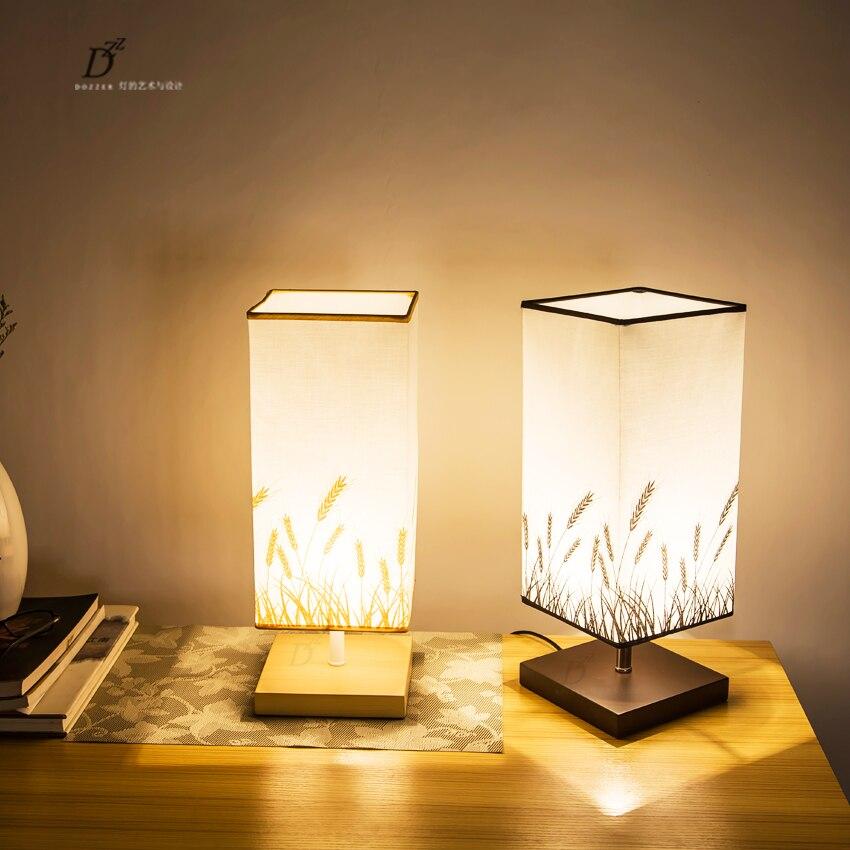 Простой Nordic конструкции мини Ткань Art Тенты настольная лампа Спальня Рабочий стол светлого дерева свет кафе-бар Кофе магазин ресторан