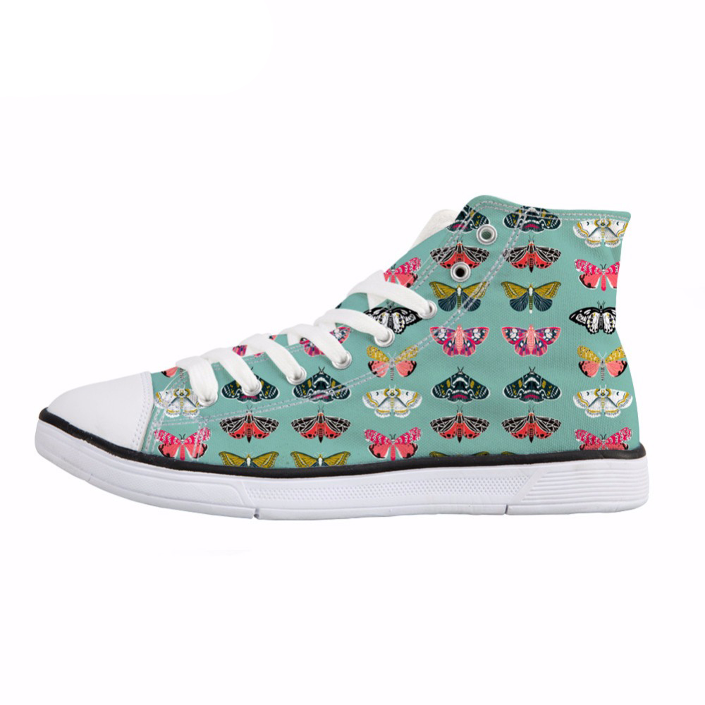 NOISYDESIGNS Vivid Butterfly Print Women Vulcanize Shoes Casual High Top Canvas Shoes Fashion Lace Up Sneakers Female Footwear