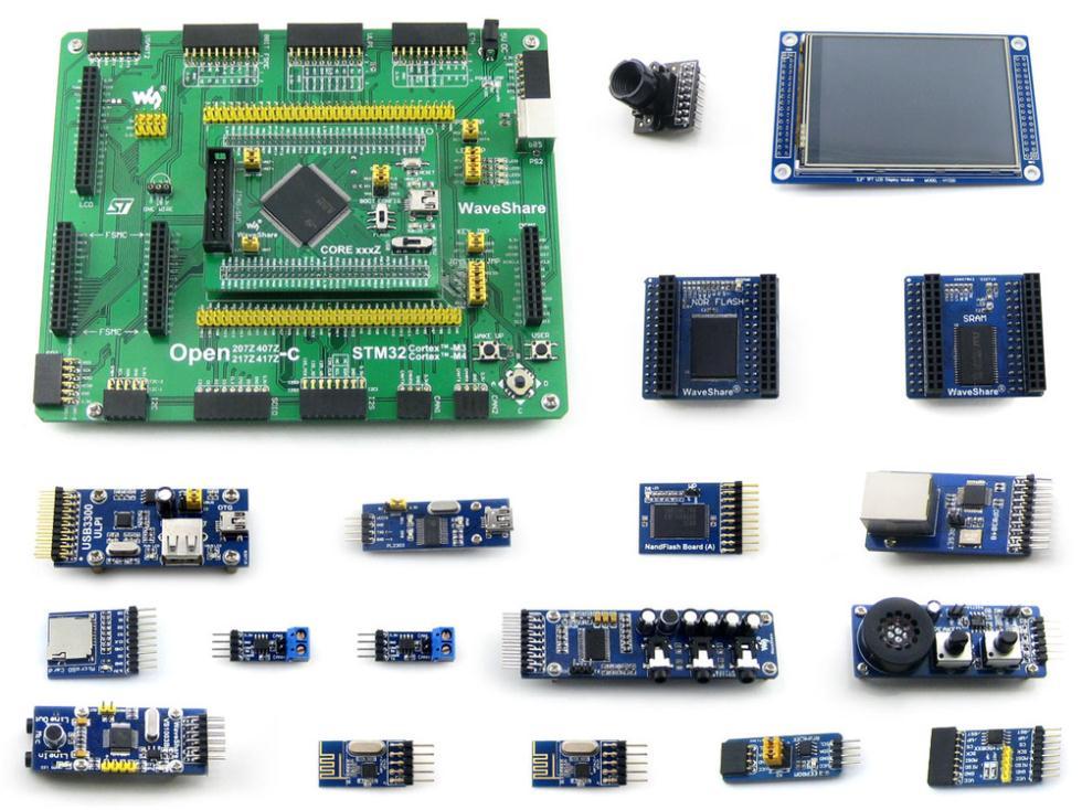 Open407z-c Вышивка Крестом Пакет B = STM32 доска stm32f407zxt6 ARM Cortex-M4 STM32 развитию + 3.2 TFT 320x240 touch ЖК-дисплей + 16 Модули комплект