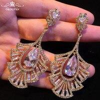 Luxurious AAA Zircon Stud Earrings Long Gold Silver Color Leaf Shape Dangle Ear Nails For Women Wedding Engagement Accessoories