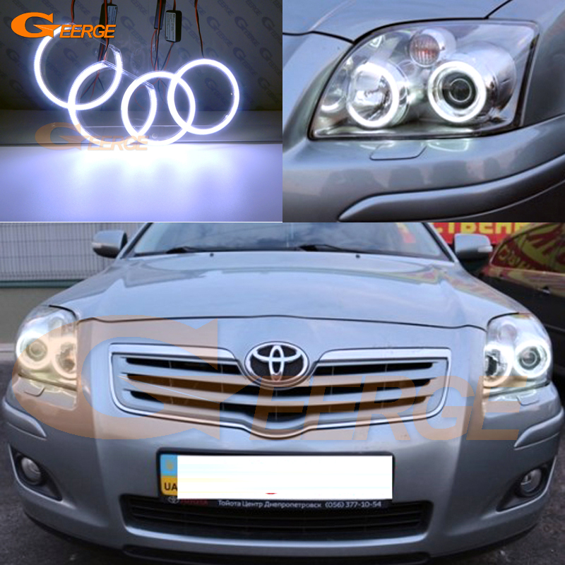 For Toyota Avensis T25 2006 2007 2008 2009 Excellent angel eyes Ultra bright illumination COB led angel eyes kit halo rings super bright led angel eyes for bmw x5 2000 to 2006 color shift headlight halo angel demon eyes rings kit