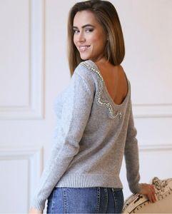 Зимний брендовый кашемировый свитер со стразами и бусинами + Вязаные теплые штаны, wj1755, 2019