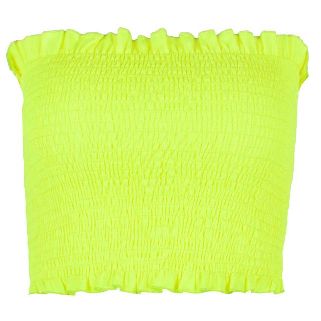Sexy de neón verde amarillo cultivos Top mujeres ropa 2019 Tops de verano vestido sin tirantes Beckless Smocked mujer tanques