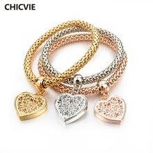 Chicvie золотые очаровательные браслеты и с кристаллами в форме