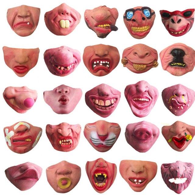 Funny Clown Mask Halloween Scary Masks  Half Face Horrible Mascara Masquerade Party Horror Masque Latex Realistic Silicone Maska 2