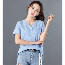 Купить с кэшбэком blusas mujer de moda 2018 Women Tops Summer Style Striped Button Cotton Shirts Woman Vintage Short Sleeve Blouse V-Neck blouses