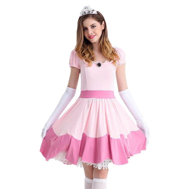 2018 New Arrival Promotion Deluxe Adult Princess Peach Costume Women Super Mario Bros Party Cosplay Costumes Halloween