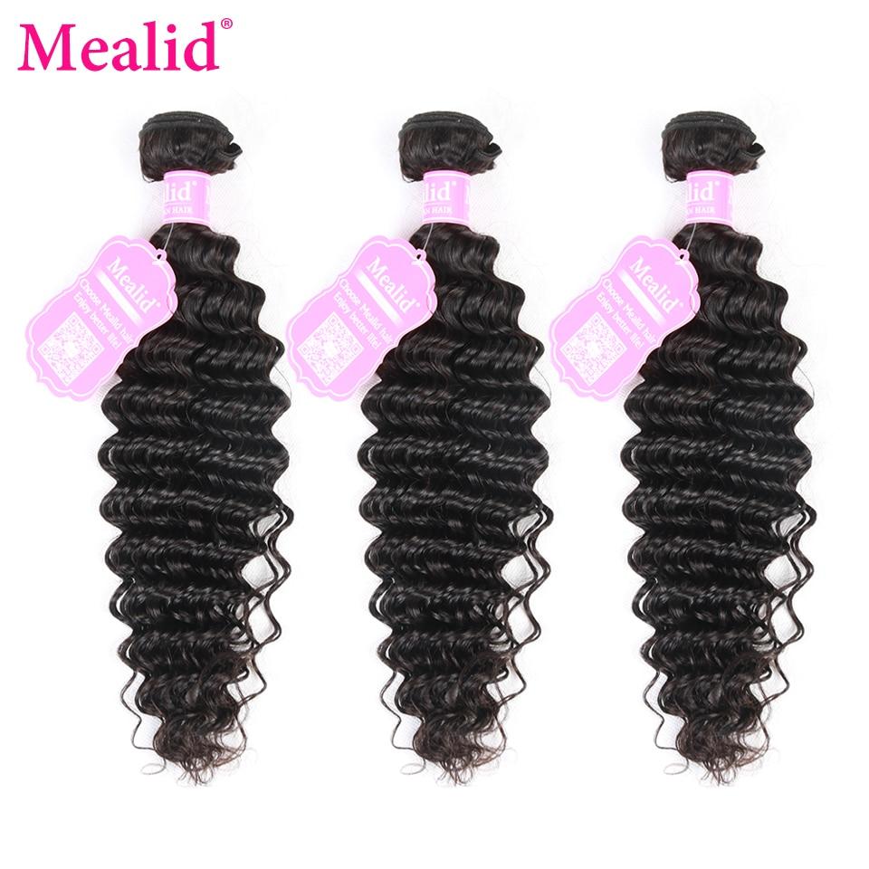 [Mealid] Deep Wave Brazilian Hair Weave Bundles 3 PCS/lot Natural Color Non-remy 8-30 Human Hair Extensions