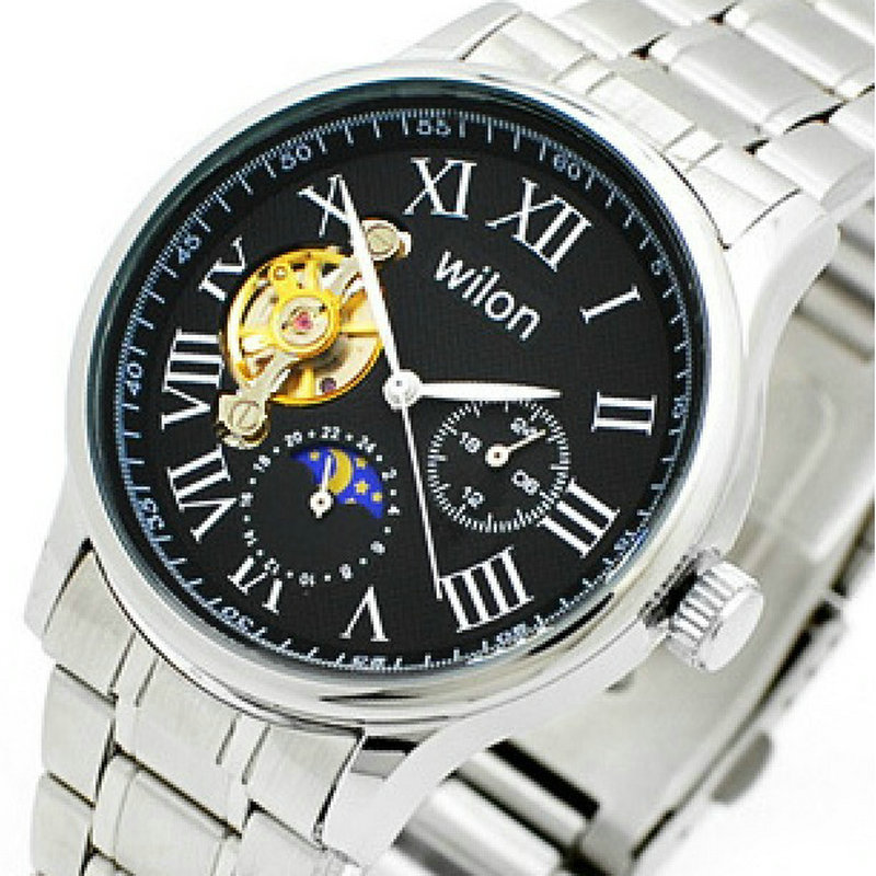 ФОТО Five needle double-sided hollow-out veyron stars steel belt automatic mechanical watches Ancient Roman word men's watch
