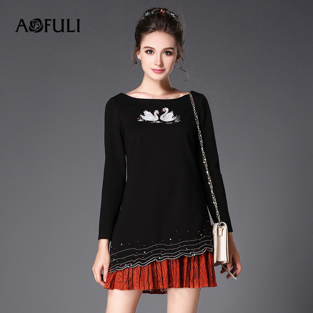 AOFULI Brand L- XXXL 5XL Plus size Autumn Dress 2017 Women Long sleeve Swan  Embroidery Beading Ruffles Party Black Dresses 834744efd7e9