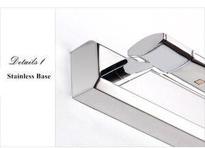 Image 5 - 무료 배송 5W LED 벽 조명 SMD5050 스테인레스 스틸 LED 미러 조명 램프 AC110V/220V 욕실 거울 조명
