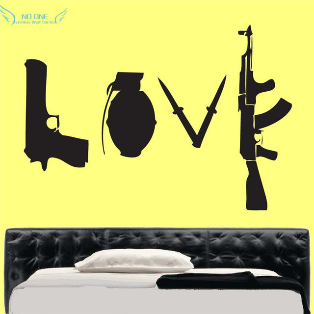 Banksy Love Weapons Wall Sticker Art Wall decal vinyl Wall Stickers ...