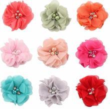 10 шт Шифон Цветы с заколки сильные ленты выстроились двойной