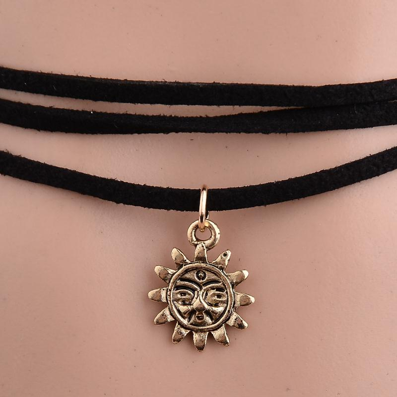 Newest Star Moon Sun Choker Necklaces & Pendants Collier Femme Leather Necklace for Women Statement Collares Jewerly 3 pcs/Set