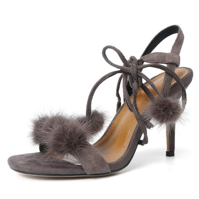 ФОТО 2017 Summer women's Fashion Cross-tied Sexy sandals handmade Thin Heels minks hair bulb Ankle Strap shoes for women