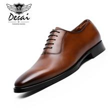 DESAI Brand New Full Grain Leather Shoes Mens Business Dress Cow Handmade Elegant Oxford Men EUR Size 38-47