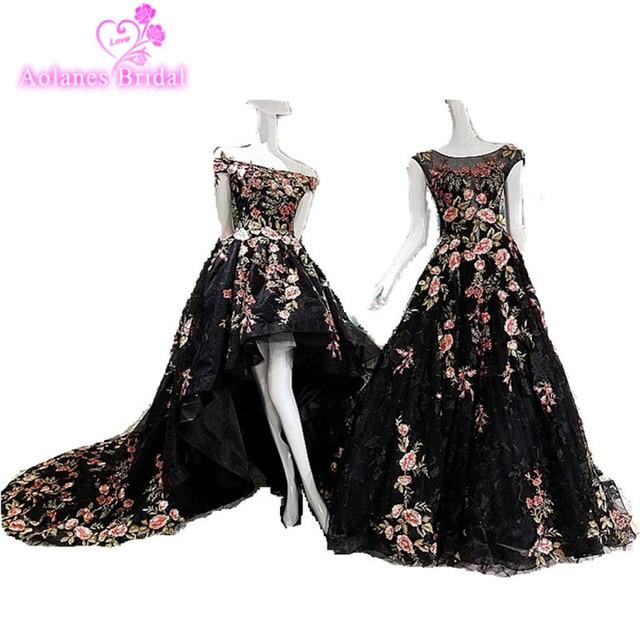 Vestido De Novia 2017 Black Embroidery Applique Black Lace Wedding Dresses High Low Bridal Gowns with Long Train